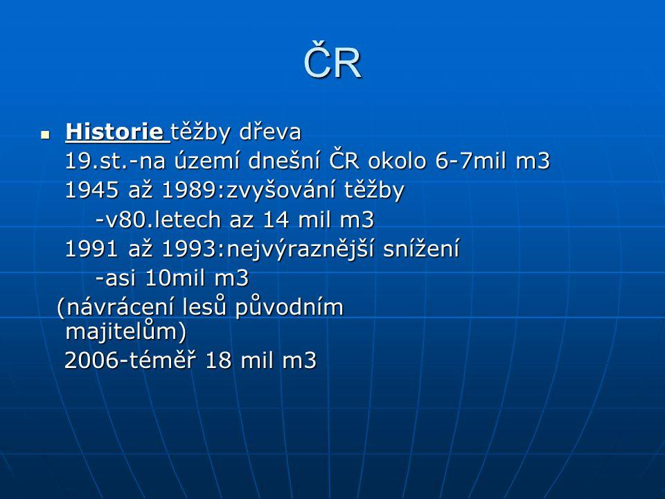 ČR Historie těžby dřeva Historie těžby dřeva 19.st.-na území dnešní ČR okolo 6-7mil m3 19.st.-na území dnešní ČR okolo 6-7mil m3 1945 až 1989:zvyšování těžby 1945 až 1989:zvyšování těžby -v80.letech az 14 mil m3 -v80.letech az 14 mil m3 1991 až 1993:nejvýraznější snížení 1991 až 1993:nejvýraznější snížení -asi 10mil m3 -asi 10mil m3 (návrácení lesů původním majitelům) (návrácení lesů původním majitelům) 2006-téměř 18 mil m3 2006-téměř 18 mil m3