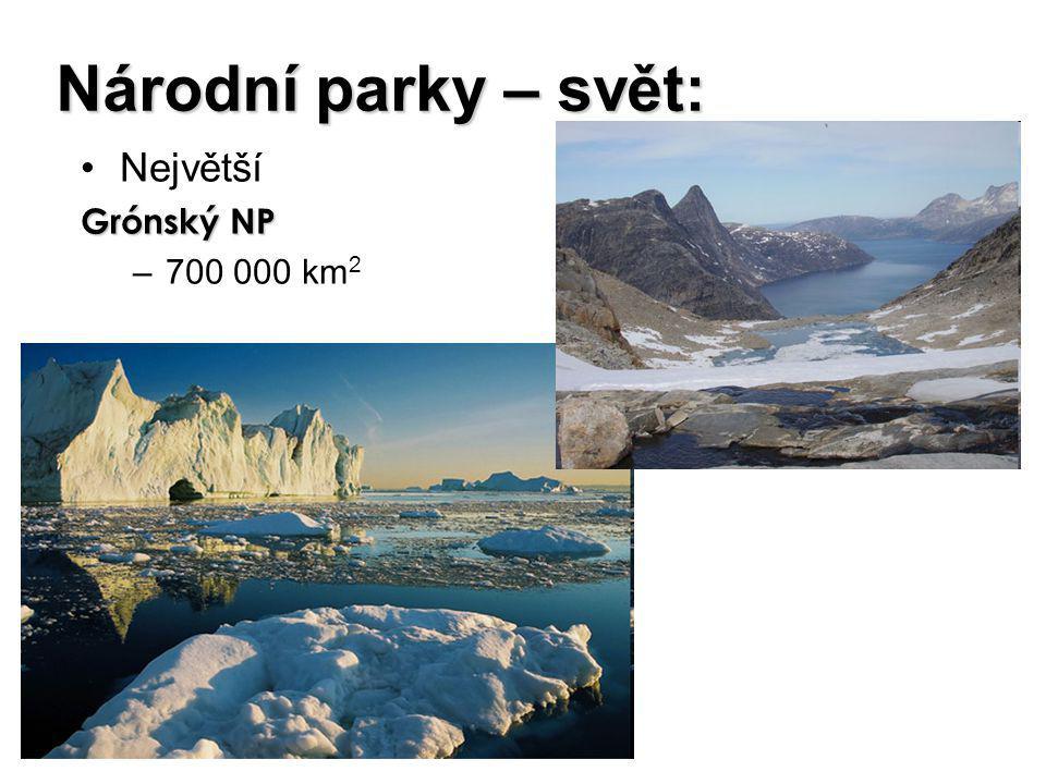 Národní parky – svět: Největší Grónský NP –700 000 km 2