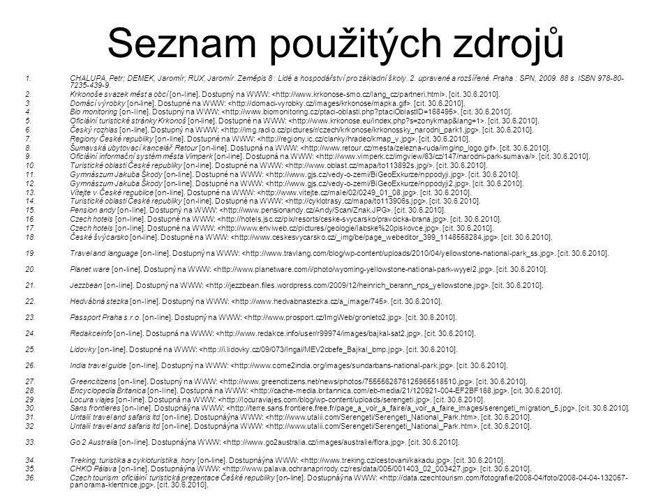 Seznam použitých zdrojů 1.CHALUPA, Petr; DEMEK, Jaromír; RUX, Jaromír. Zeměpis 8 : Lidé a hospodářství pro základní školy. 2. upravené a rozšířené. Pr