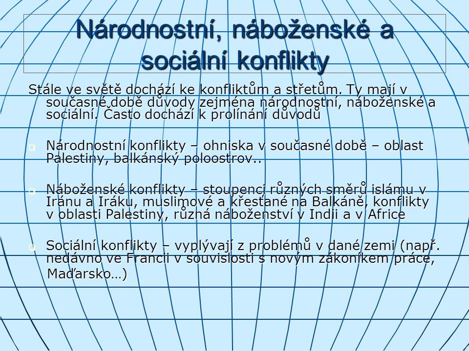 Národnostní, náboženské a sociální konflikty Stále ve světě dochází ke konfliktům a střetům.
