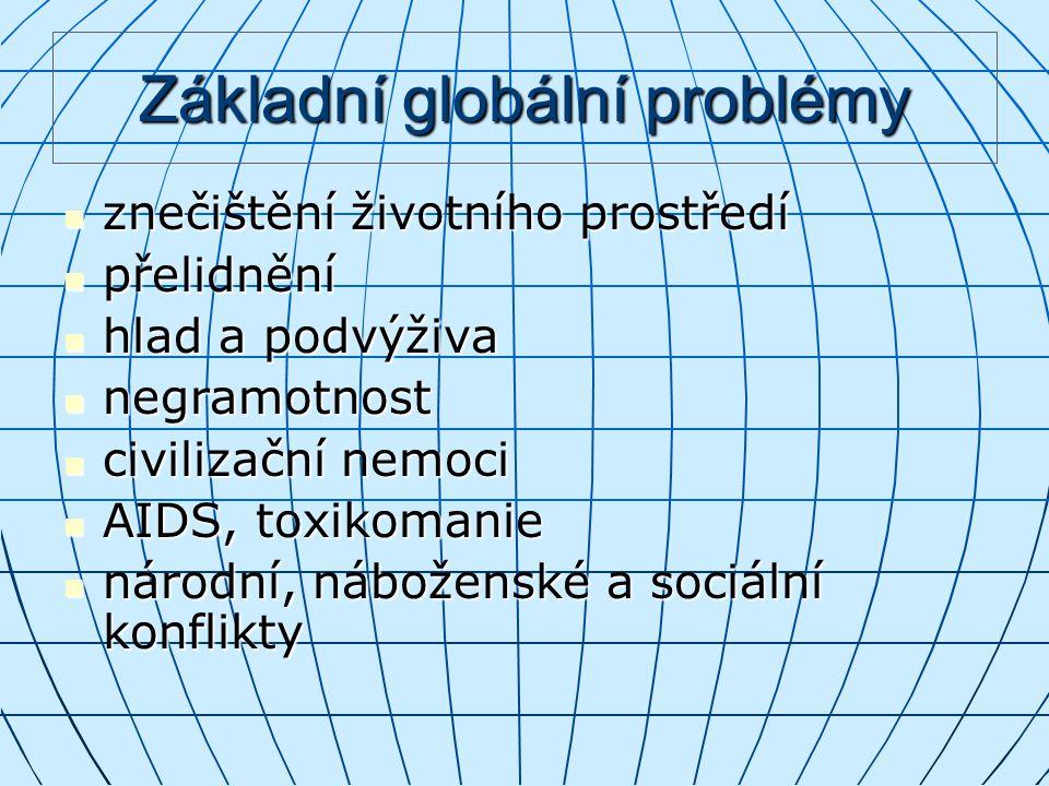 Základní globální problémy znečištění životního prostředí přelidnění hlad a podvýživa negramotnost civilizační nemoci AIDS, toxikomanie národní, nábož