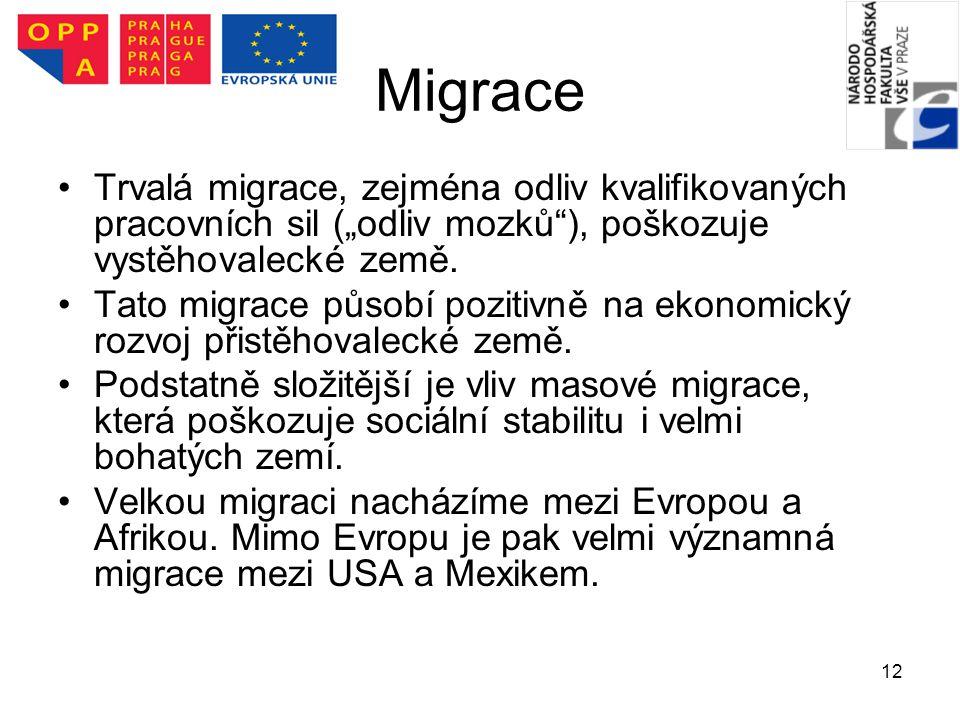 """12 Migrace Trvalá migrace, zejména odliv kvalifikovaných pracovních sil (""""odliv mozků""""), poškozuje vystěhovalecké země. Tato migrace působí pozitivně"""