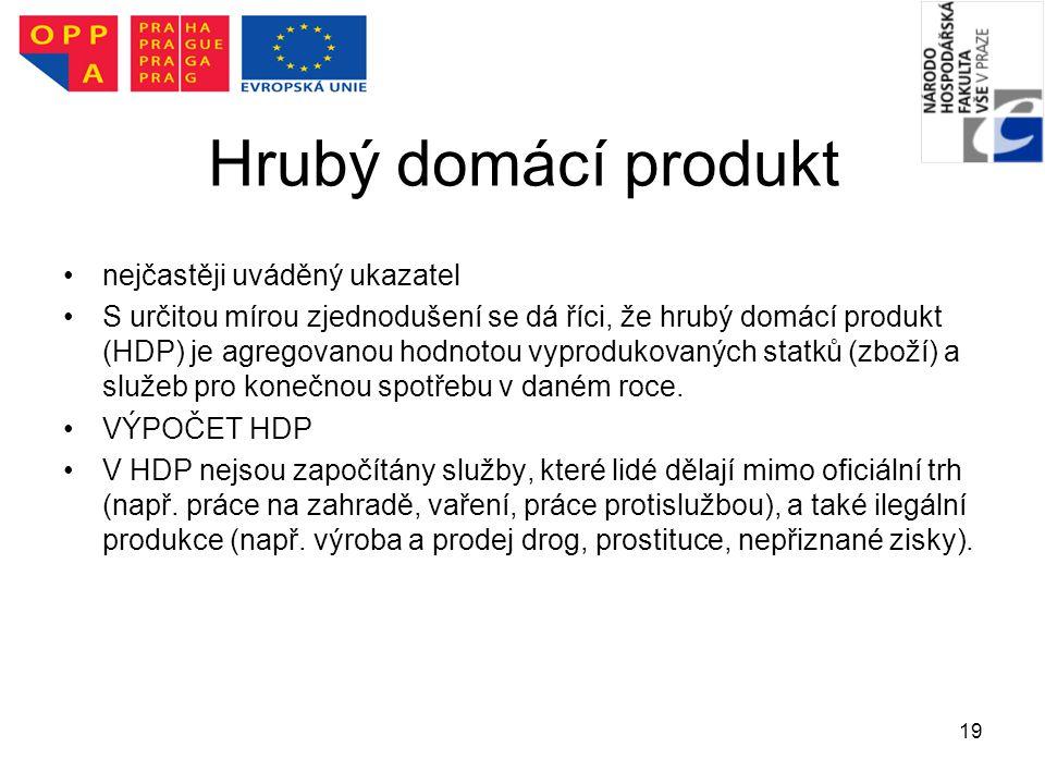 19 Hrubý domácí produkt nejčastěji uváděný ukazatel S určitou mírou zjednodušení se dá říci, že hrubý domácí produkt (HDP) je agregovanou hodnotou vyp