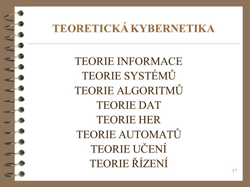 17 TEORETICKÁ KYBERNETIKA TEORIE INFORMACE TEORIE SYSTÉMŮ TEORIE ALGORITMŮ TEORIE DAT TEORIE HER TEORIE AUTOMATŮ TEORIE UČENÍ TEORIE ŘÍZENÍ
