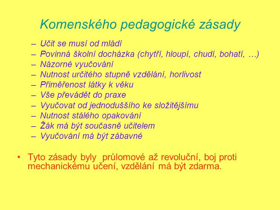 Komenského pedagogické zásady –Učit se musí od mládí –Povinná školní docházka (chytří, hloupí, chudí, bohatí, …) –Názorné vyučování –Nutnost určitého stupně vzdělání, horlivost –Přiměřenost látky k věku –Vše převádět do praxe –Vyučovat od jednoduššího ke složitějšímu –Nutnost stálého opakování –Žák má být současně učitelem –Vyučování má být zábavné Tyto zásady byly průlomové až revoluční, boj proti mechanickému učení, vzdělání má být zdarma.