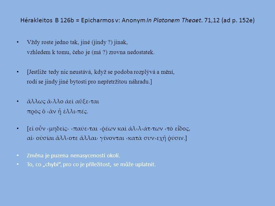 Hérakleitos B 126b = Epicharmos v: Anonym In Platonem Theaet.