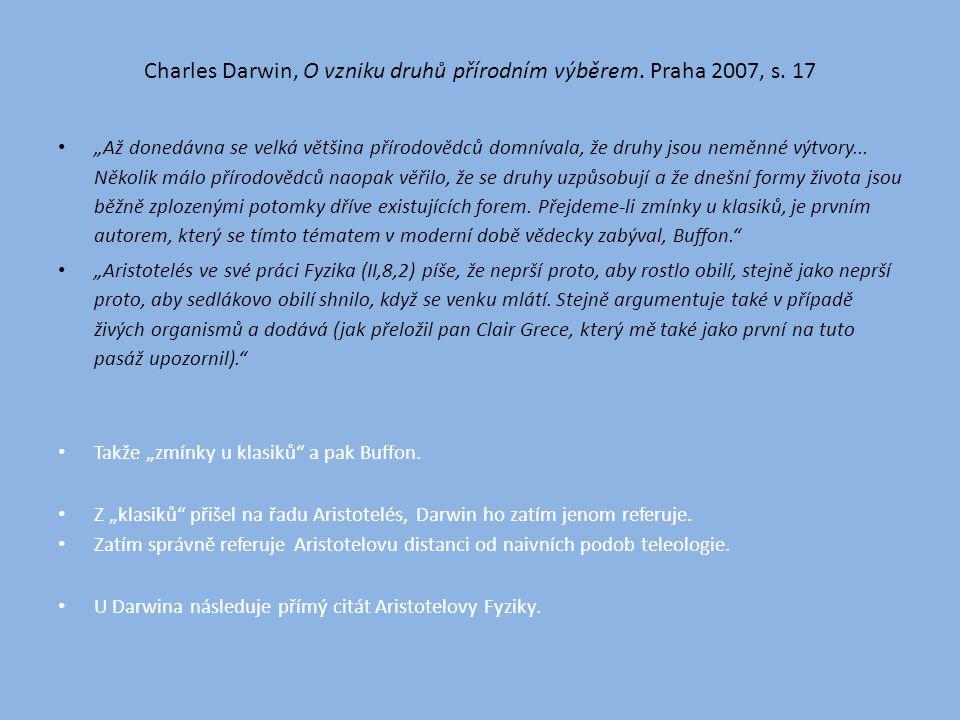 Charles Darwin, O vzniku druhů přírodním výběrem. Praha 2007, s.