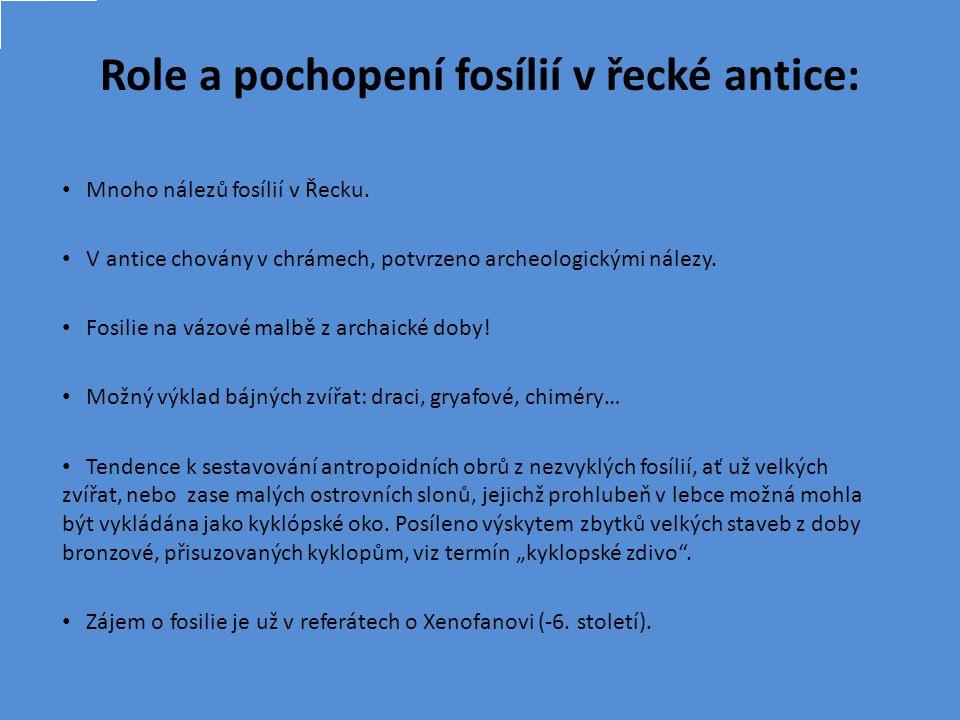 Role a pochopení fosílií v řecké antice: Mnoho nálezů fosílií v Řecku.