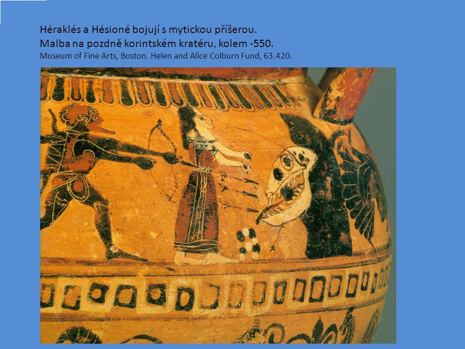 Héraklés a Hésioné bojují s mytickou příšerou.Malba na pozdně korintském kratéru, kolem -550.