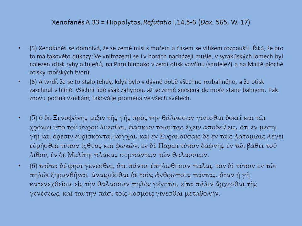 Xenofanés A 33 = Hippolytos, Refutatio I,14,5-6 (Dox.