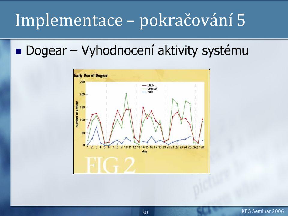 KEG Seminar 2006 30 Implementace – pokračování 5 Dogear – Vyhodnocení aktivity systému