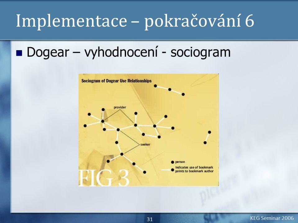 KEG Seminar 2006 31 Implementace – pokračování 6 Dogear – vyhodnocení - sociogram