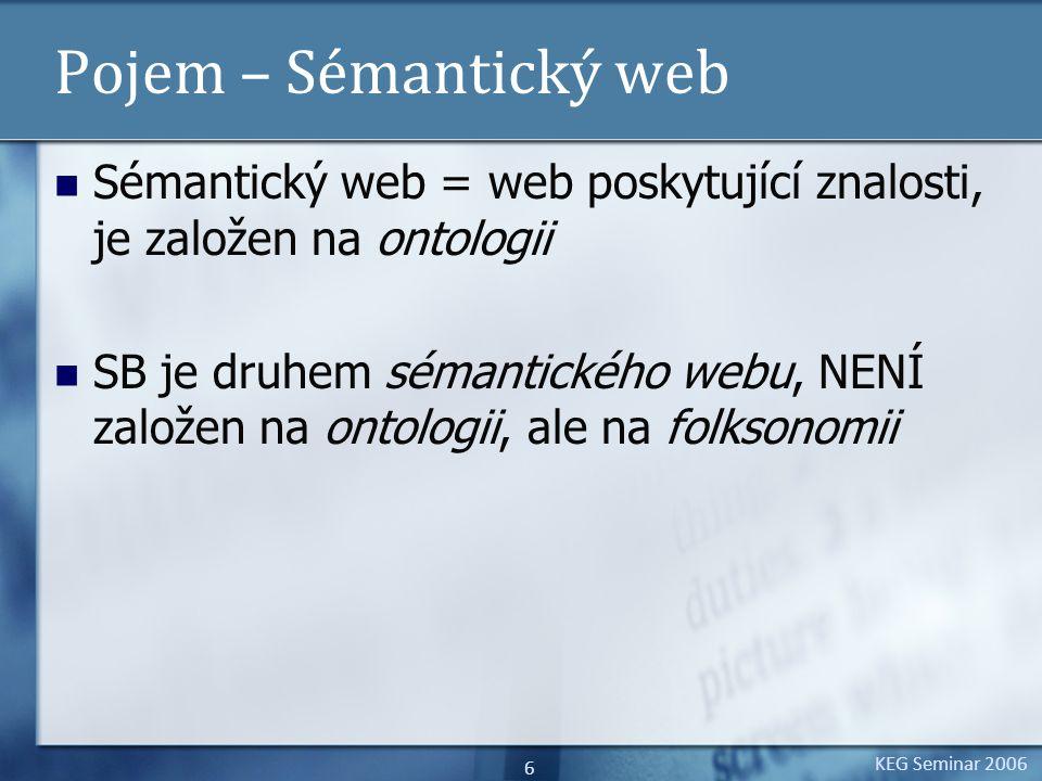 KEG Seminar 2006 6 Pojem – Sémantický web Sémantický web = web poskytující znalosti, je založen na ontologii SB je druhem sémantického webu, NENÍ zalo