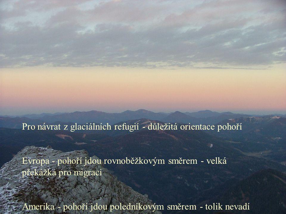 Pro návrat z glaciálních refugií - důležitá orientace pohoří Evropa - pohoří jdou rovnoběžkovým směrem - velká překážka pro migraci Amerika - pohoří jdou poledníkovým směrem - tolik nevadí