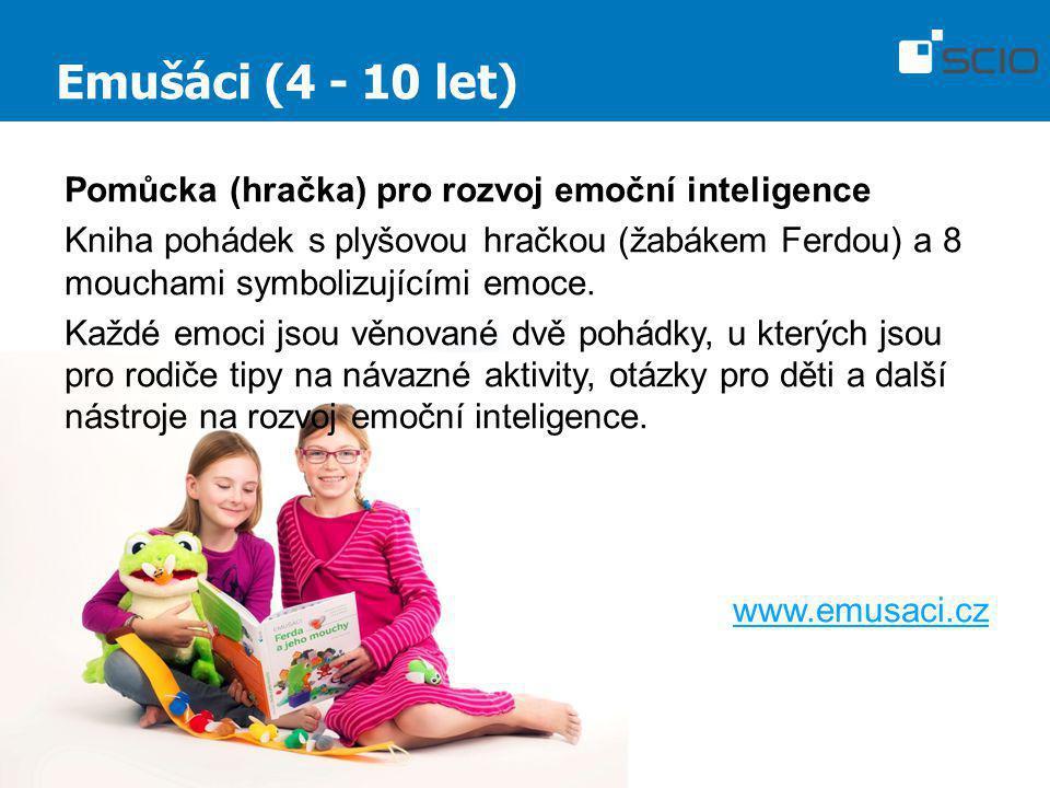 Emušáci (4 - 10 let) Pomůcka (hračka) pro rozvoj emoční inteligence Kniha pohádek s plyšovou hračkou (žabákem Ferdou) a 8 mouchami symbolizujícími emo