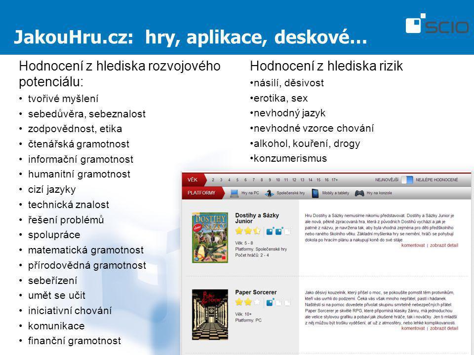 JakouHru.cz: hry, aplikace, deskové… Hodnocení z hlediska rozvojového potenciálu: tvořivé myšlení sebedůvěra, sebeznalost zodpovědnost, etika čtenářsk