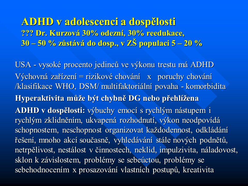 ADHD v adolescenci a dospělosti ??? Dr. Kurzová 30% odezní, 30% reedukace, 30 – 50 % zůstává do dosp., v ZŠ populaci 5 – 20 % USA - vysoké procento je