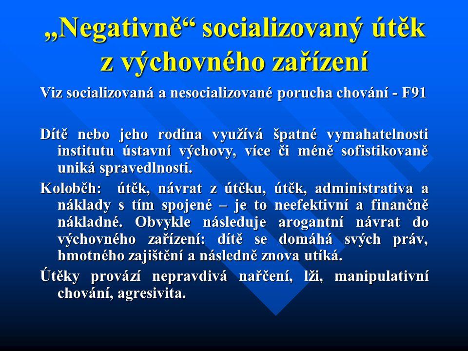 """""""Negativně"""" socializovaný útěk z výchovného zařízení Viz socializovaná a nesocializované porucha chování - F91 Dítě nebo jeho rodina využívá špatné vy"""