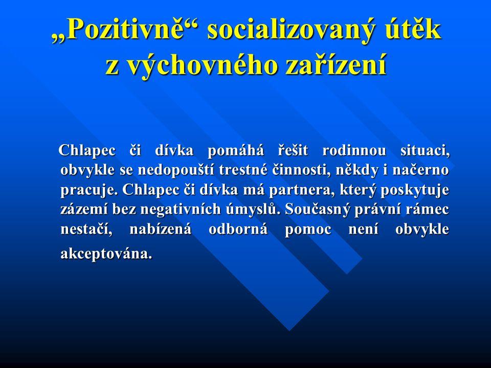 """""""Pozitivně"""" socializovaný útěk z výchovného zařízení Chlapec či dívka pomáhá řešit rodinnou situaci, obvykle se nedopouští trestné činnosti, někdy i n"""