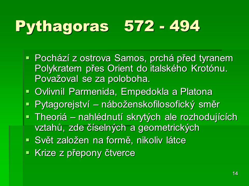 14 Pythagoras 572 - 494  Pochází z ostrova Samos, prchá před tyranem Polykratem přes Orient do italského Krotónu.