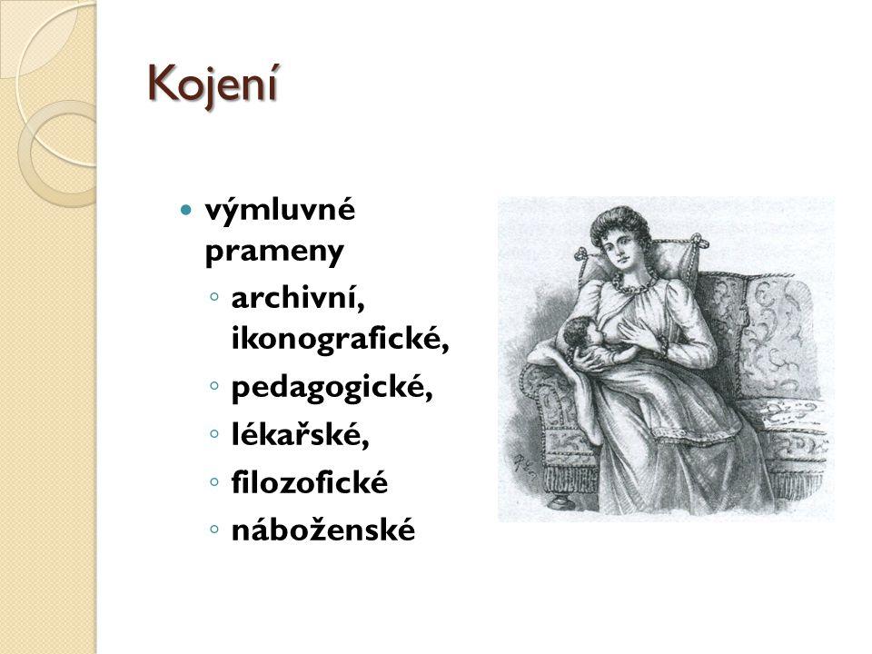 Kojení výmluvné prameny ◦ archivní, ikonografické, ◦ pedagogické, ◦ lékařské, ◦ filozofické ◦ náboženské