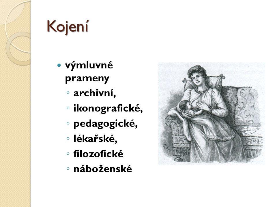 Kojení výmluvné prameny ◦ archivní, ◦ ikonografické, ◦ pedagogické, ◦ lékařské, ◦ filozofické ◦ náboženské