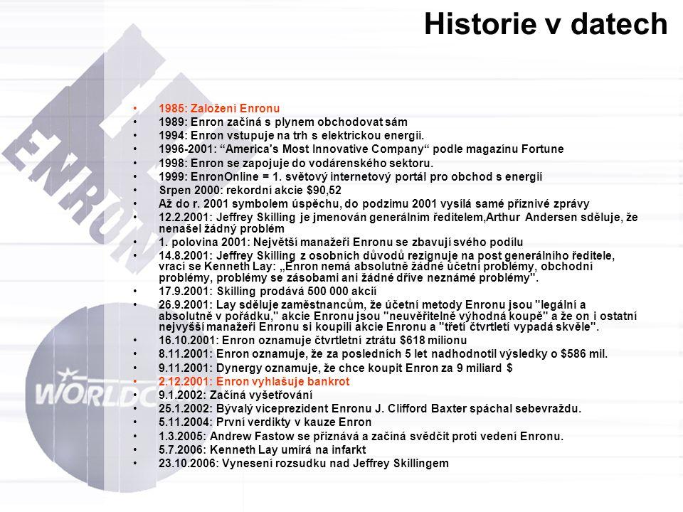 """Historie v datech 1985: Založení Enronu 1989: Enron začíná s plynem obchodovat sám 1994: Enron vstupuje na trh s elektrickou energií. 1996-2001: """"Amer"""