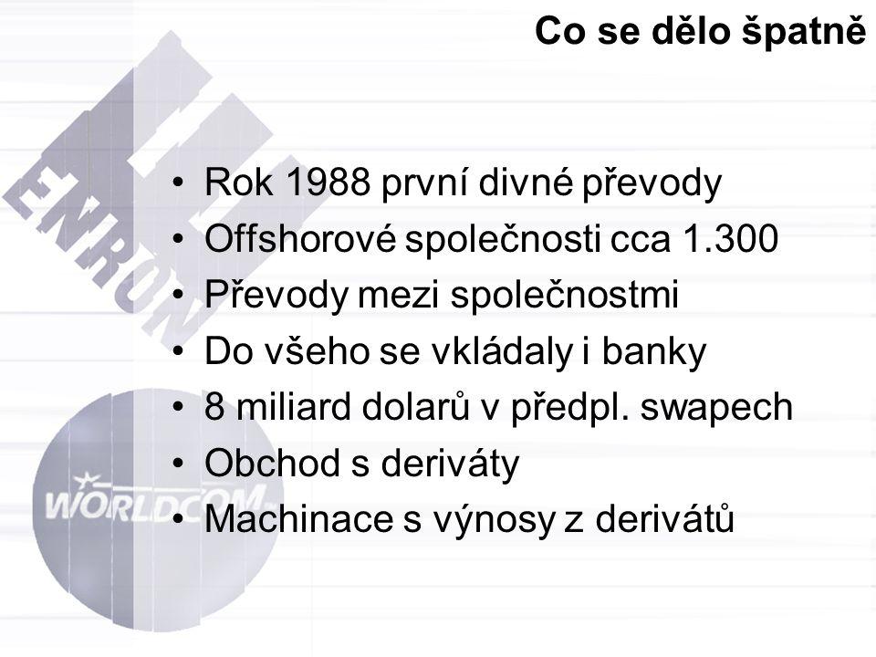 Co se dělo špatně Rok 1988 první divné převody Offshorové společnosti cca 1.300 Převody mezi společnostmi Do všeho se vkládaly i banky 8 miliard dolar