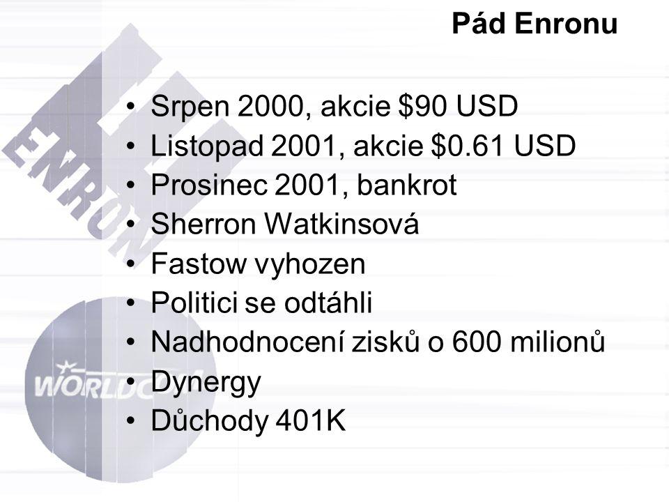 Pád Enronu Srpen 2000, akcie $90 USD Listopad 2001, akcie $0.61 USD Prosinec 2001, bankrot Sherron Watkinsová Fastow vyhozen Politici se odtáhli Nadho