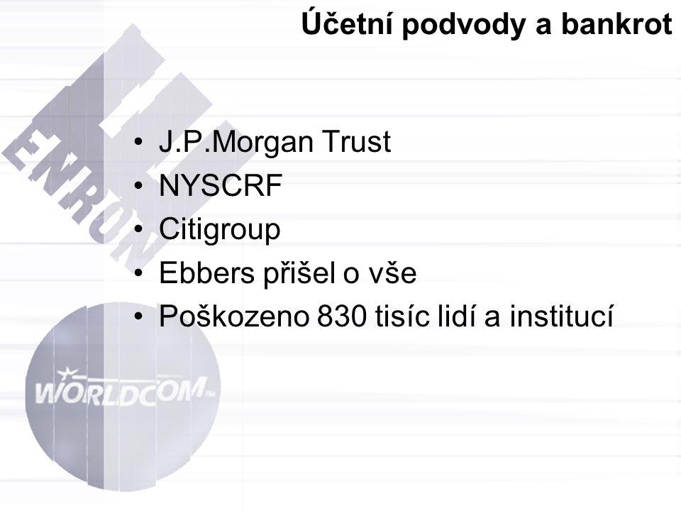 Účetní podvody a bankrot J.P.Morgan Trust NYSCRF Citigroup Ebbers přišel o vše Poškozeno 830 tisíc lidí a institucí