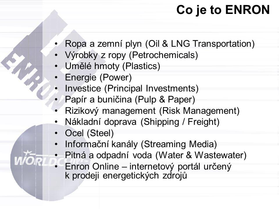 Co je to ENRON Ropa a zemní plyn (Oil & LNG Transportation) Výrobky z ropy (Petrochemicals) Umělé hmoty (Plastics) Energie (Power) Investice (Principa