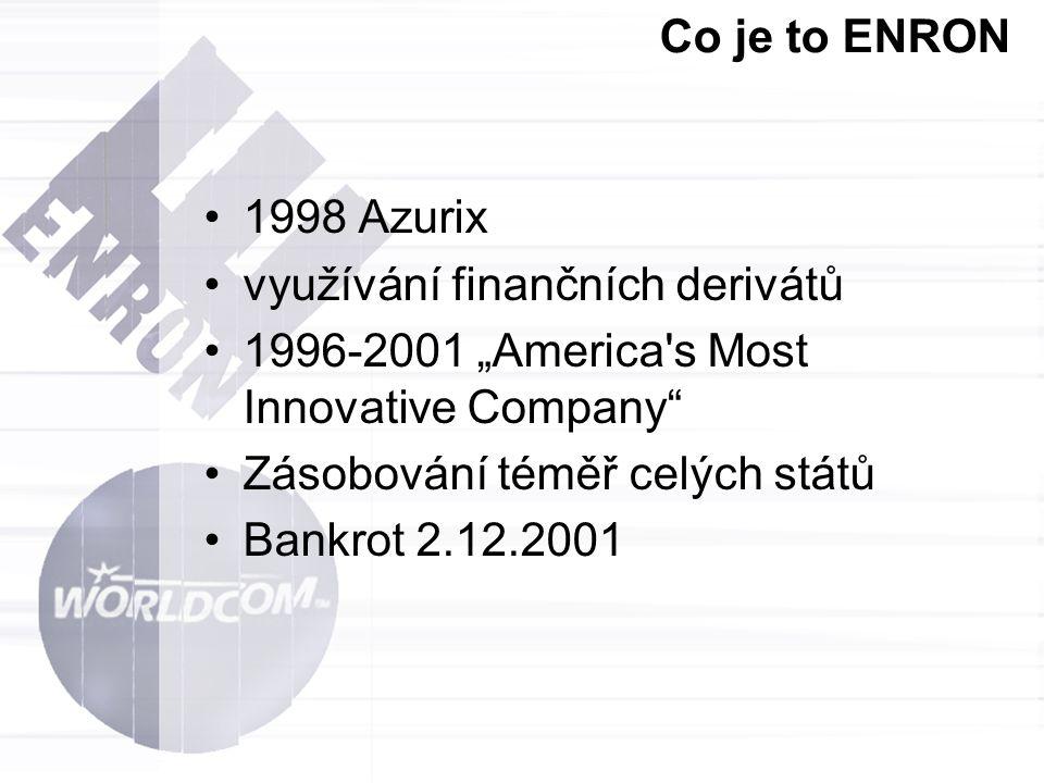 """Co je to ENRON 1998 Azurix využívání finančních derivátů 1996-2001 """"America's Most Innovative Company"""" Zásobování téměř celých států Bankrot 2.12.2001"""