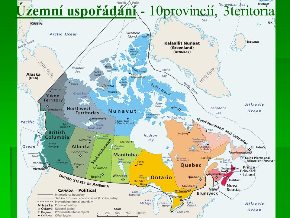Územní uspořádání - 10provincií, 3teritoria