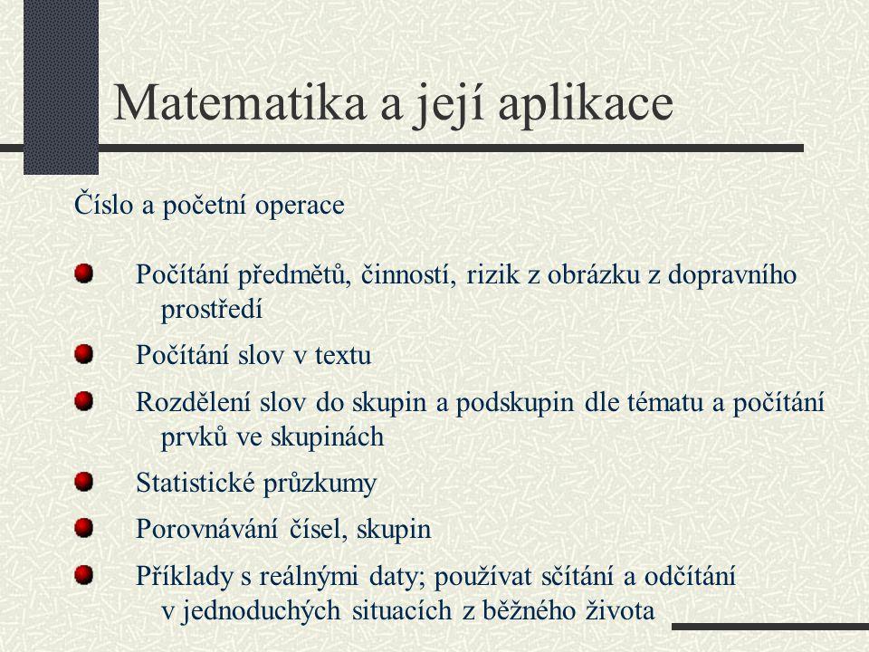 Matematika a její aplikace Číslo a početní operace Počítání předmětů, činností, rizik z obrázku z dopravního prostředí Počítání slov v textu Rozdělení