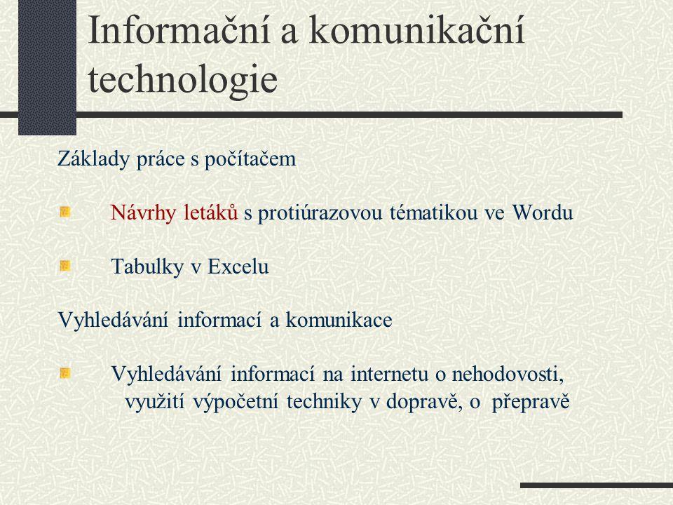Informační a komunikační technologie Základy práce s počítačem Návrhy letáků s protiúrazovou tématikou ve Wordu Tabulky v Excelu Vyhledávání informací