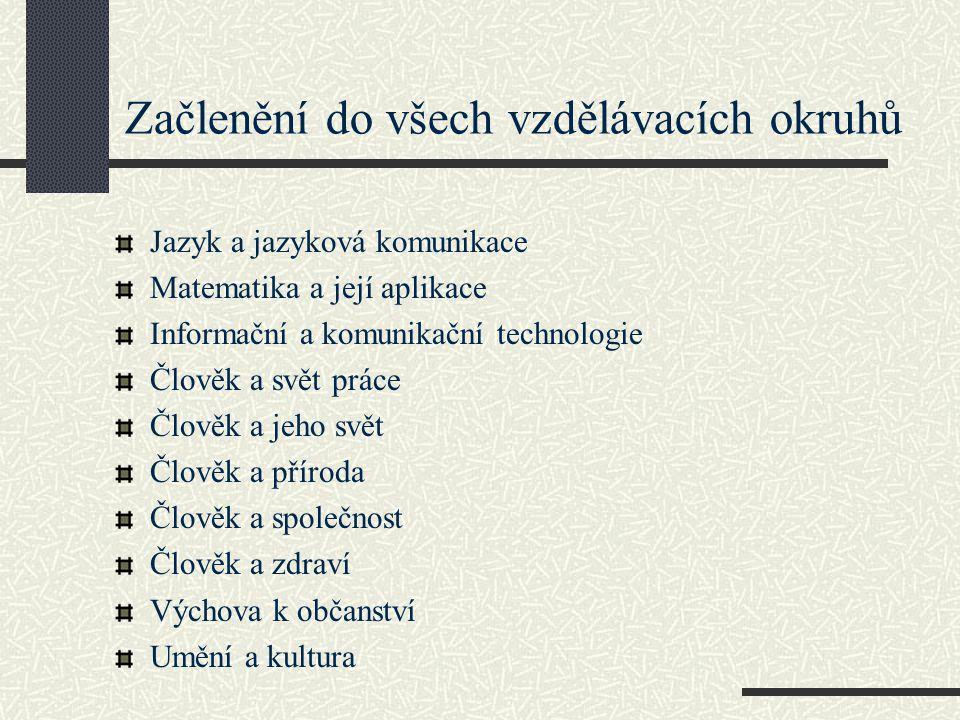 Začlenění do všech vzdělávacích okruhů Jazyk a jazyková komunikace Matematika a její aplikace Informační a komunikační technologie Člověk a svět práce