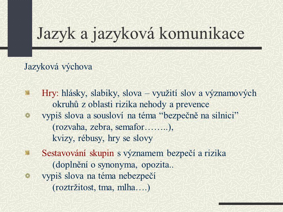 Jazyk a jazyková komunikace Jazyková výchova Hry: hlásky, slabiky, slova – využití slov a významových okruhů z oblasti rizika nehody a prevence vypiš