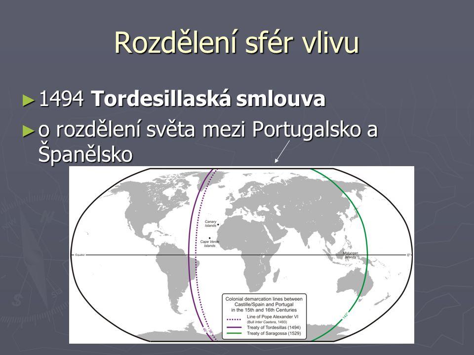 Rozdělení sfér vlivu ► 1494 Tordesillaská smlouva ► o rozdělení světa mezi Portugalsko a Španělsko