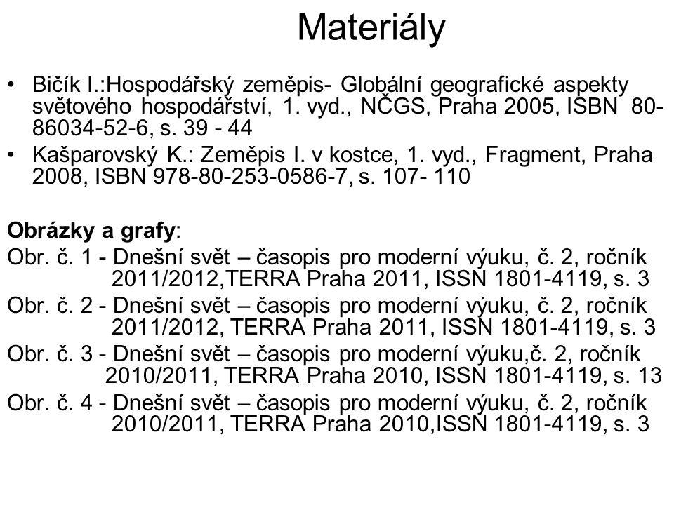 Materiály Bičík I.:Hospodářský zeměpis- Globální geografické aspekty světového hospodářství, 1. vyd., NČGS, Praha 2005, ISBN 80- 86034-52-6, s. 39 - 4