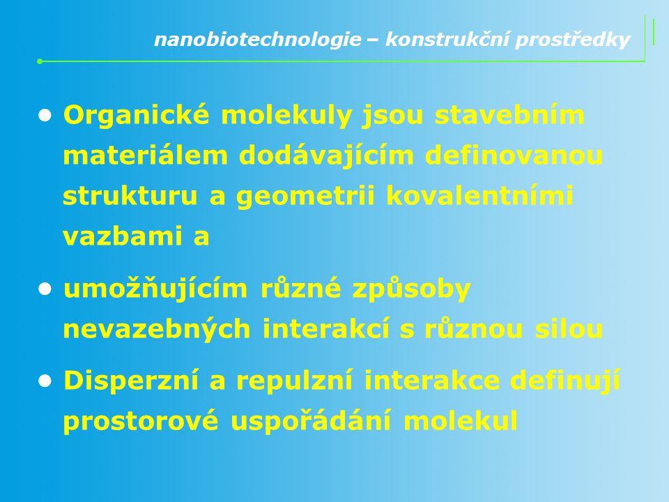 Organické molekuly jsou stavebním materiálem dodávajícím definovanou strukturu a geometrii kovalentními vazbami a umožňujícím různé způsoby nevazebnýc