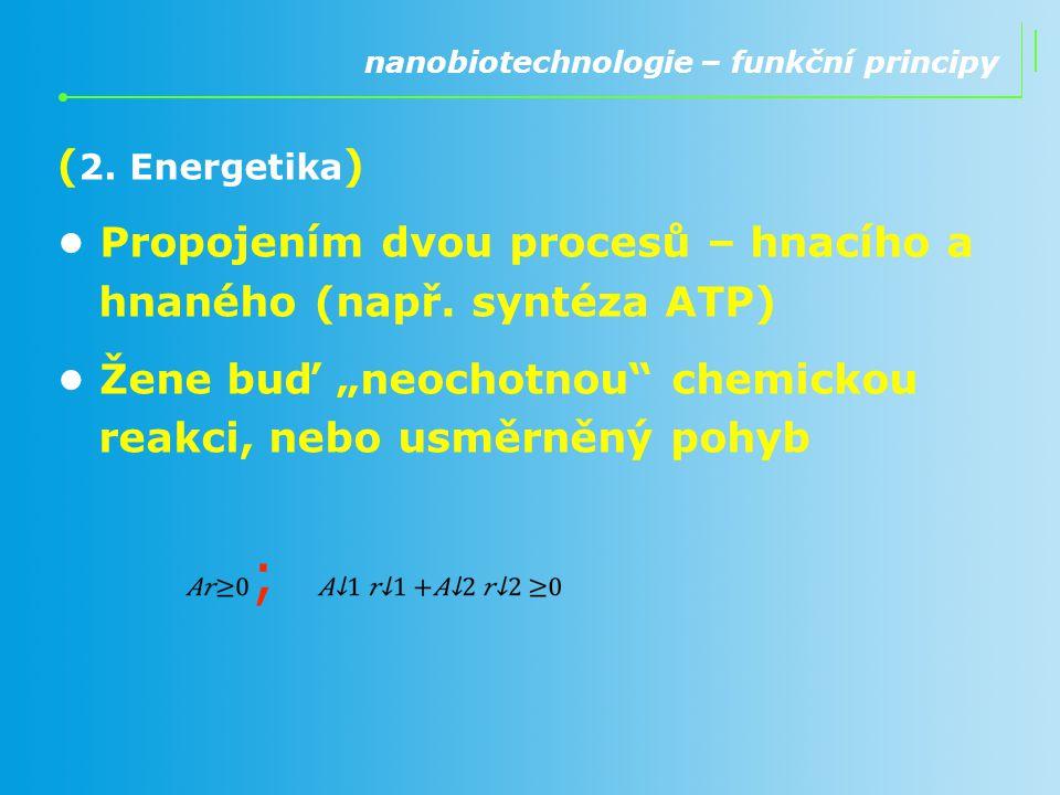 """( 2. Energetika ) Propojením dvou procesů – hnacího a hnaného (např. syntéza ATP) Žene buď """"neochotnou"""" chemickou reakci, nebo usměrněný pohyb nanobio"""