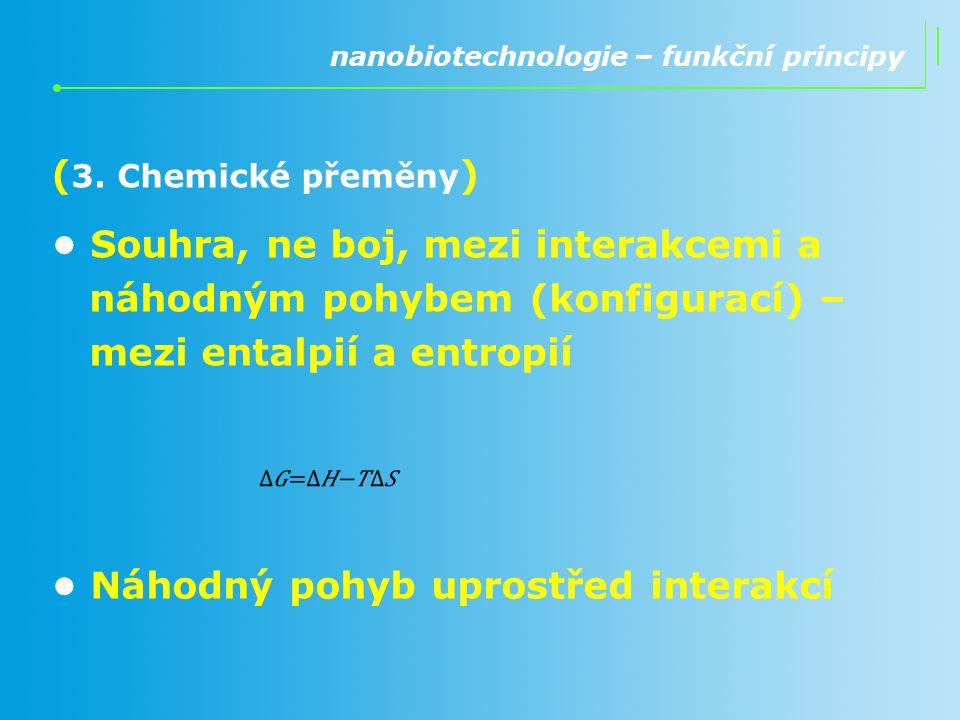 ( 3. Chemické přeměny ) Souhra, ne boj, mezi interakcemi a náhodným pohybem (konfigurací) – mezi entalpií a entropií nanobiotechnologie – funkční prin