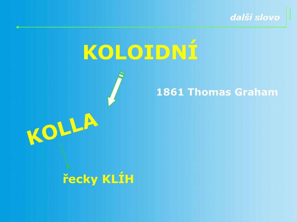 KOLOIDNÍ KOLLA řecky KLÍH další slovo 1861 Thomas Graham