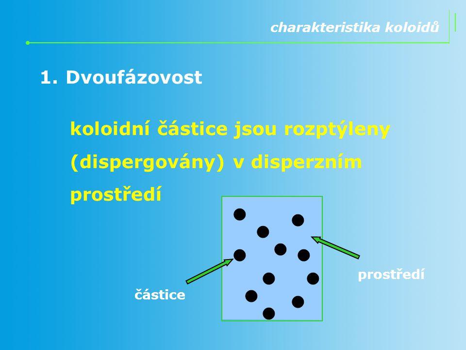 1.Dvoufázovost charakteristika koloidů koloidní částice jsou rozptýleny (dispergovány) v disperzním prostředí částice prostředí