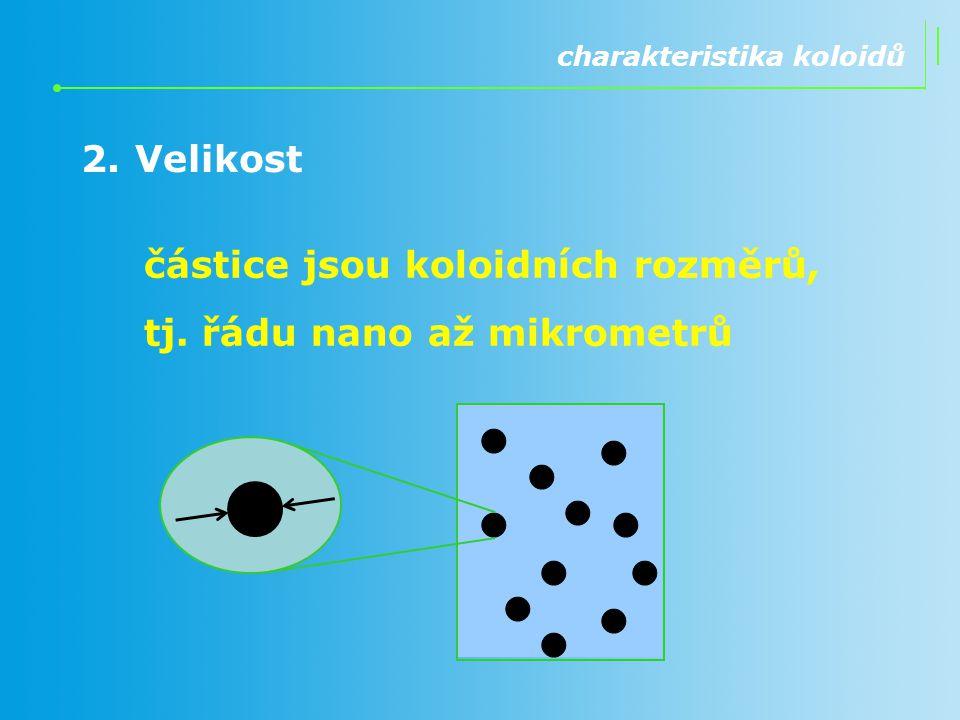 2.Velikost charakteristika koloidů částice jsou koloidních rozměrů, tj. řádu nano až mikrometrů