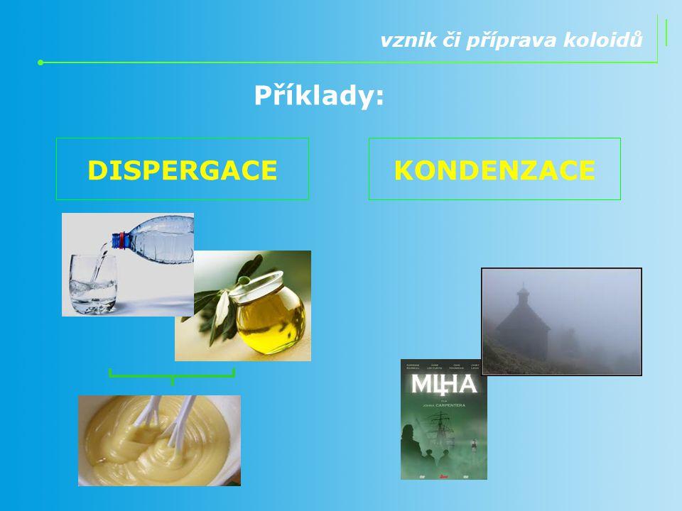 Příklady: vznik či příprava koloidů DISPERGACEKONDENZACE
