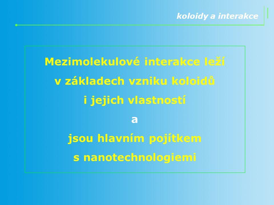 Mezimolekulové interakce leží v základech vzniku koloidů i jejich vlastností a jsou hlavním pojítkem s nanotechnologiemi koloidy a interakce