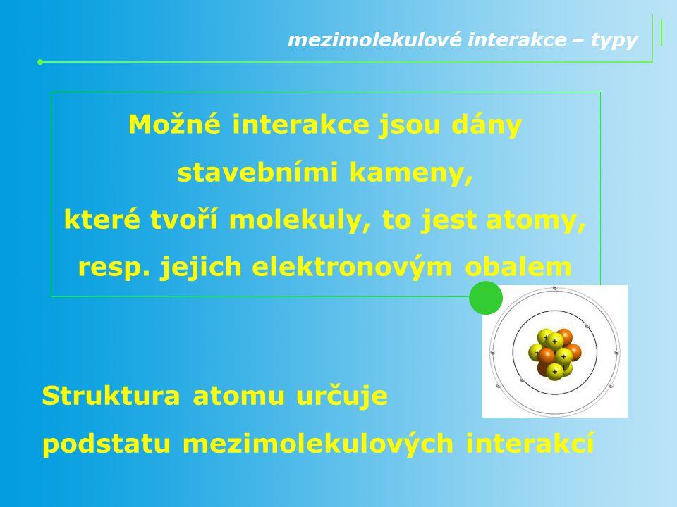 Možné interakce jsou dány stavebními kameny, které tvoří molekuly, to jest atomy, resp. jejich elektronovým obalem mezimolekulové interakce – typy Str