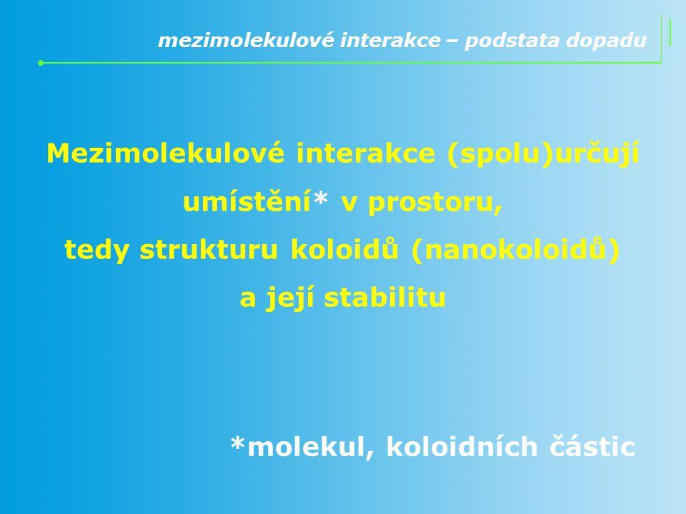 mezimolekulové interakce – podstata dopadu Mezimolekulové interakce (spolu)určují umístění* v prostoru, tedy strukturu koloidů (nanokoloidů) a její st