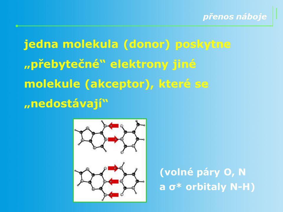 """přenos náboje jedna molekula (donor) poskytne """"přebytečné"""" elektrony jiné molekule (akceptor), které se """"nedostávají"""" (volné páry O, N a σ* orbitaly N"""